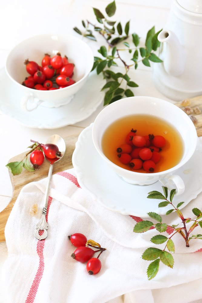 Rosehip tea and berries